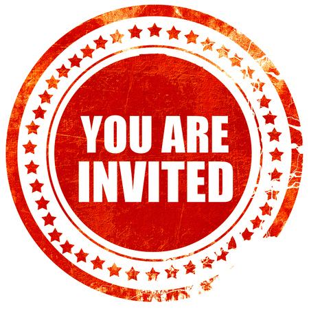 you are invited, isolated red rubber stamp on a solid white background Stock Photo