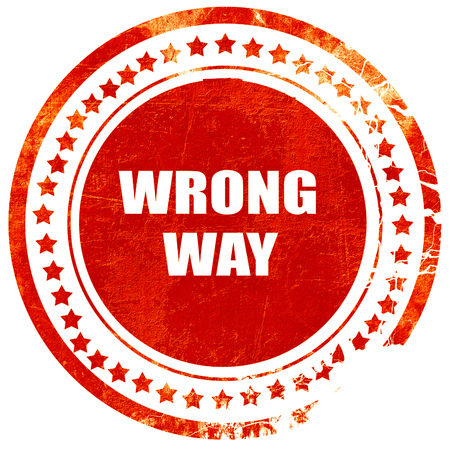 wrong way: wrong way, isolated red rubber stamp on a solid white background