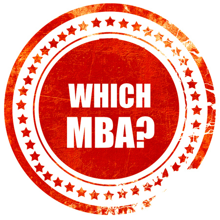 master degree: which mba, isolated red rubber stamp on a solid white background