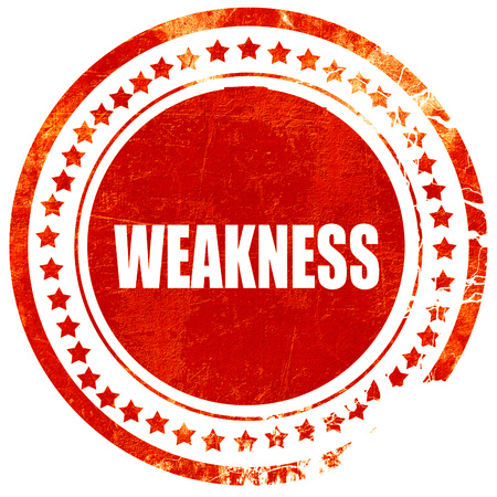 weakness: weakness, isolated red rubber stamp on a solid white background Stock Photo