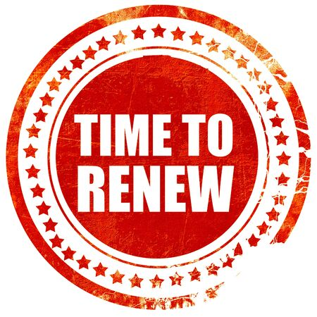 time to renew, isolated red rubber stamp on a solid white background