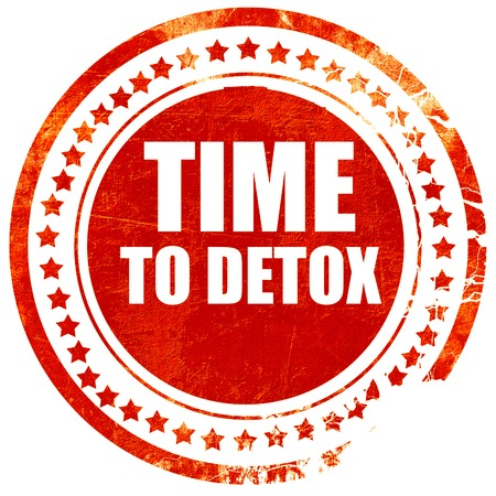 detoxing: time to detox, isolated red rubber stamp on a solid white background