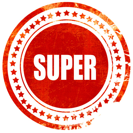 transcription: super, isolated red rubber stamp on a solid white background Stock Photo