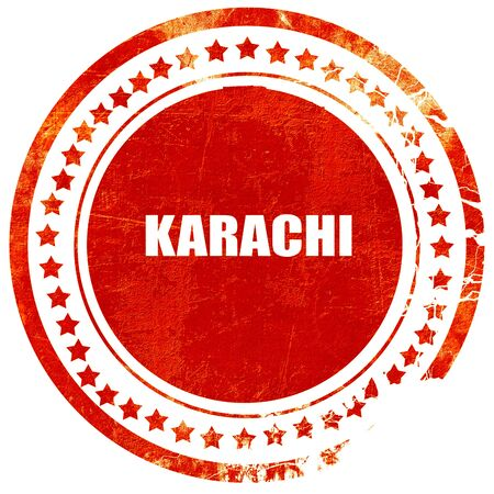 karachi: karachi, isolated red rubber stamp on a solid white background