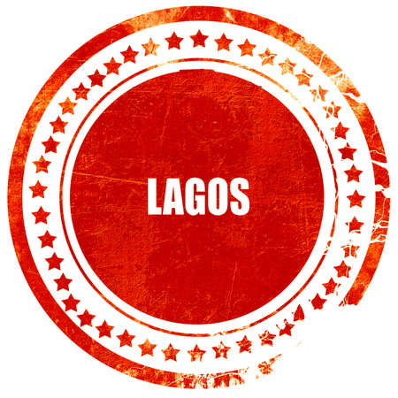 lagos: lagos, isolated red rubber stamp on a solid white background