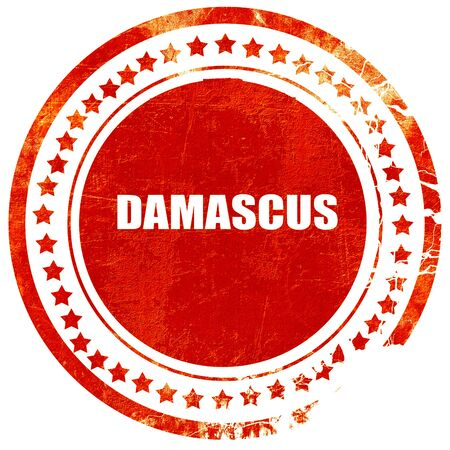 damascus: damascus, isolated red rubber stamp on a solid white background