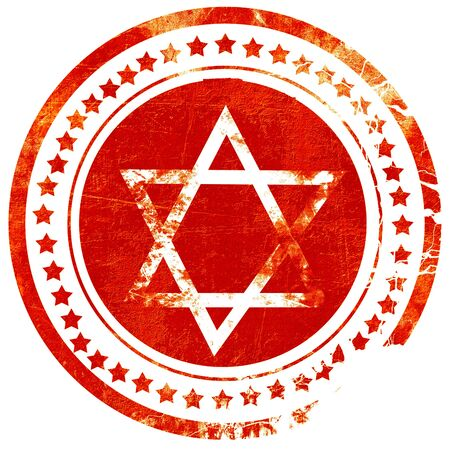 khanukah: Star of david with some soft flowing lines, isolated red rubber stamp on a solid white background