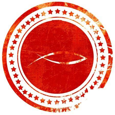 pez cristiano: s�mbolo cristiano de los pescados con unas l�neas suaves suaves, aisladas sello de goma de color rojo sobre un fondo blanco s�lido Foto de archivo