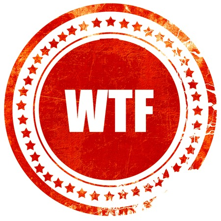 wtf: wtf internet slang with some soft smooth lines, isolated red rubber stamp on a solid white background Stock Photo