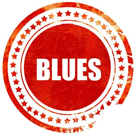 blues music: blues music, isolated red rubber stamp on a solid white background