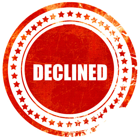 dismiss: declined sign background with some soft smooth lines, isolated red rubber stamp on a solid white background