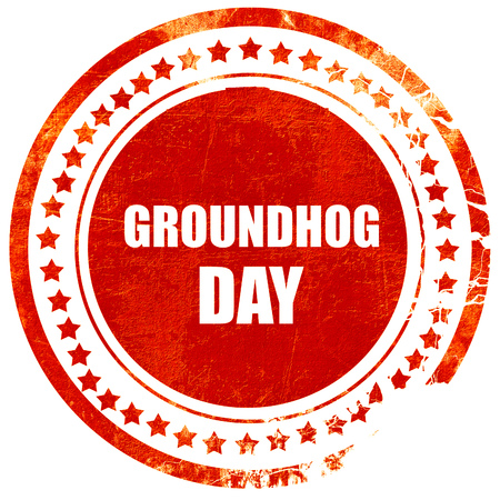 forecaster: groundhog day, isolated red rubber stamp on a solid white background Stock Photo