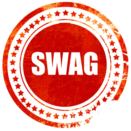 swag: swag internet slang with some soft smooth lines, isolated red rubber stamp on a solid white background