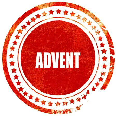advent: advent, isolated red rubber stamp on a solid white background