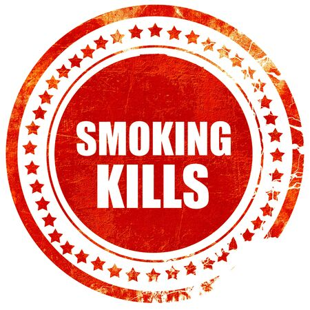 killing cancer: smoking kills, isolated red rubber stamp on a solid white background