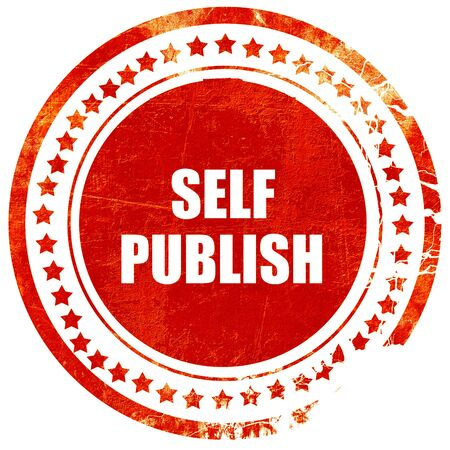 self publishing, isolated red rubber stamp on a solid white background