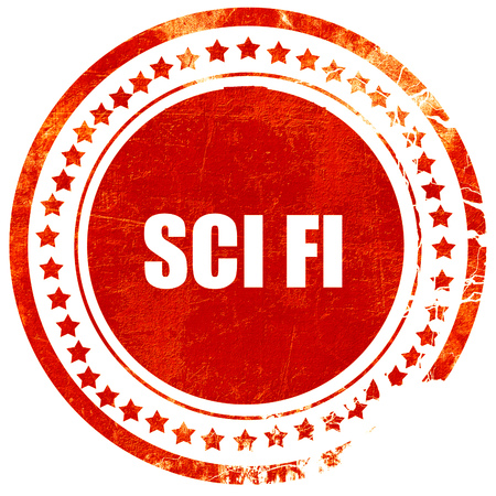sci: sci fi, isolated red rubber stamp on a solid white background Stock Photo