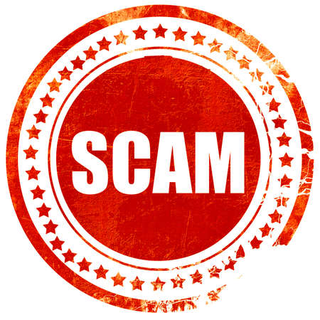 scamming: scam, isolated red rubber stamp on a solid white background