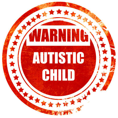 autistic: Autistic child sign with orange and black colors, isolated red rubber stamp on a solid white background