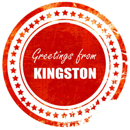 kingston: Greetings from kingston with some smooth lines, isolated red rubber stamp on a solid white background