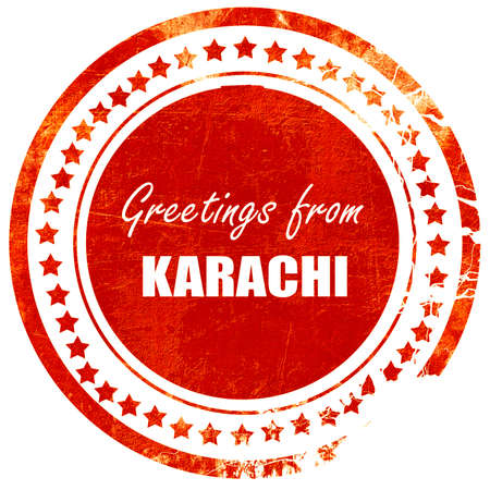karachi: Greetings from karachi with some smooth lines, isolated red rubber stamp on a solid white background