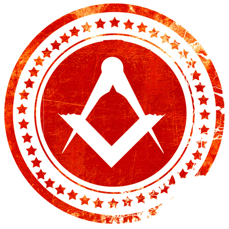 freemasonry: Masonic freemasonry symbol with some soft smooth lines, isolated red rubber stamp on a solid white background Stock Photo