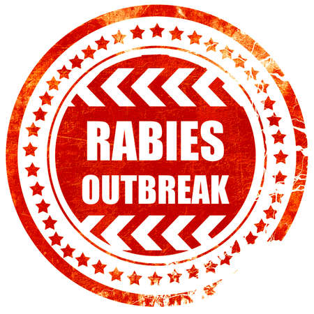 rabies: Rabies virus concept background with some soft smooth lines, isolated red rubber stamp on a solid white background