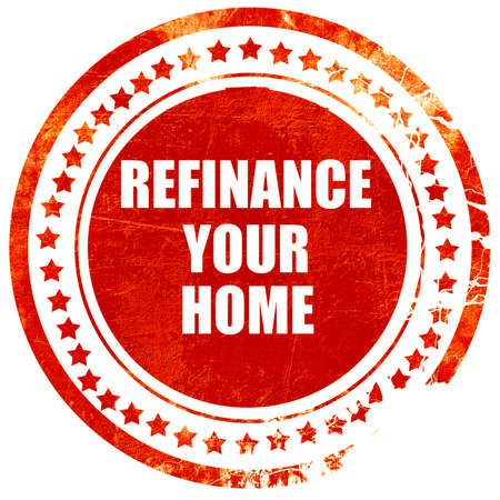 refinancing interest rates: refinance your home, isolated red rubber stamp on a solid white background