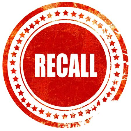 recall: recall, isolated red rubber stamp on a solid white background
