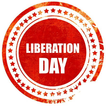 liberation: liberation day, isolated red rubber stamp on a solid white background