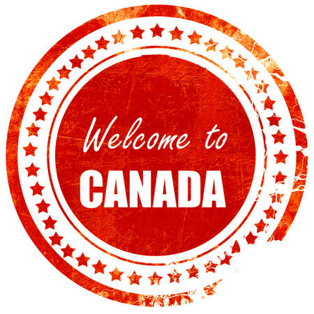 canada stamp: Welcome to  canada card with some soft highlights, isolated red rubber stamp on a solid white background