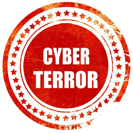 cyber attacks: Cyber terror background with some smooth lines, isolated red rubber stamp on a solid white background