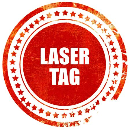 laser tag: laser tag sign background with some soft smooth lines, isolated red rubber stamp on a solid white background Stock Photo