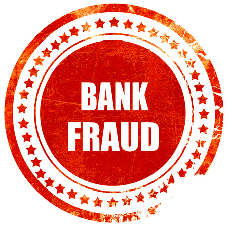 scammer: Bank fraud background with some smooth lines, isolated red rubber stamp on a solid white background Stock Photo