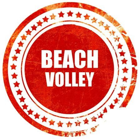 beach volley: beach volley sign with some soft smooth lines, isolated red rubber stamp on a solid white background