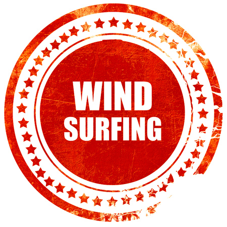 wind surfing: wind surfing sign background with some soft smooth lines, isolated red rubber stamp on a solid white background Stock Photo