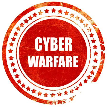 cyberwarfare: Cyber warfare background with some smooth lines, isolated red rubber stamp on a solid white background