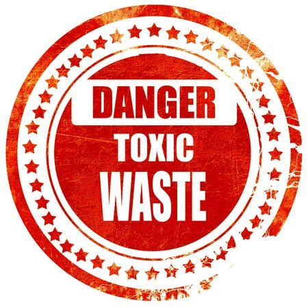 residuos toxicos: Muestra de los desechos t�xicos con unas l�neas suaves, aisladas sello de goma de color rojo sobre un fondo blanco s�lido
