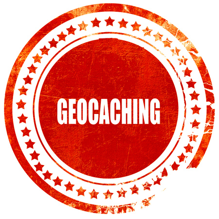 caching: geocaching sign background with some soft smooth lines, isolated red rubber stamp on a solid white background
