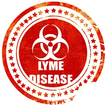 lyme: Lyme virus concept background with some soft smooth lines, isolated red rubber stamp on a solid white background Stock Photo