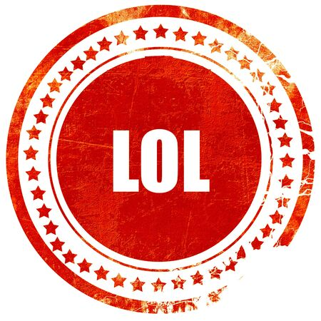 lol: lol internet slang with some soft smooth lines, isolated red rubber stamp on a solid white background