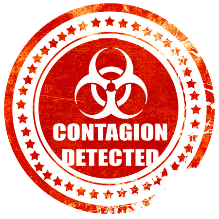 contagion: contagion concept background with some soft smooth lines, isolated red rubber stamp on a solid white background Stock Photo