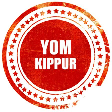 channukah: yom kippur, isolated red rubber stamp on a solid white background