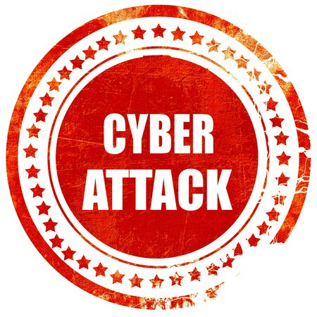 capitalized: Cyber warfare background with some smooth lines, isolated red rubber stamp on a solid white background