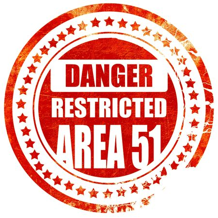 51: area 51 sign with some soft flowing lines, isolated red rubber stamp on a solid white background Stock Photo