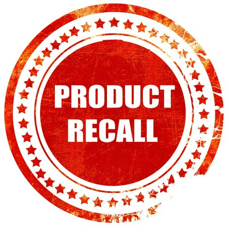 recall: product recall, isolated red rubber stamp on a solid white background