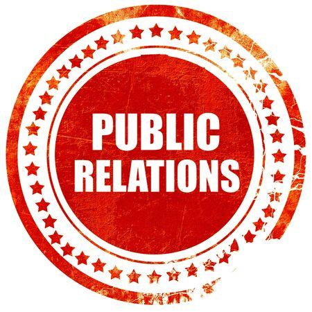 relaciones publicas: relaciones p�blicas, aislado sello de goma de color rojo sobre un fondo blanco s�lido