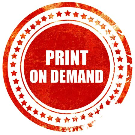 print on demand, isolated red rubber stamp on a solid white background Stock Photo