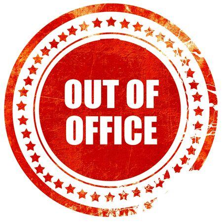 fuori ufficio, isolato rosso timbro di gomma su uno sfondo bianco solido