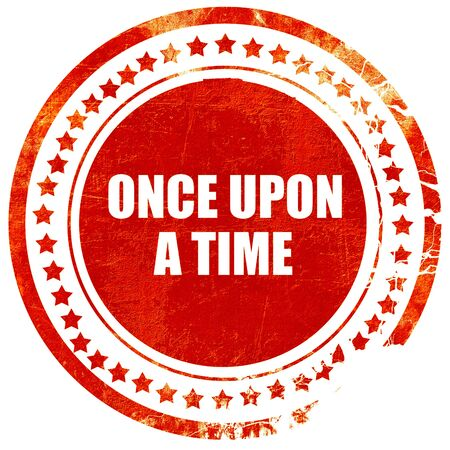 once: once upon a time, isolated red rubber stamp on a solid white background Stock Photo